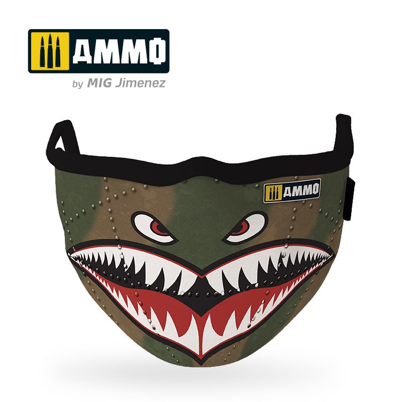"Ammo by Mig Jimenez Ammo Face Mask ""Shark"" (Hygienic Protective Mask 100% Polyester) - Ammo by Mig Jimenez - A.MIG-8066"