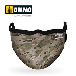 "Ammo Face Mask ""Multicam"" (Hygienic Protective Mask 100% Polyester) - Ammo by Mig Jimenez - A.MIG-8068"