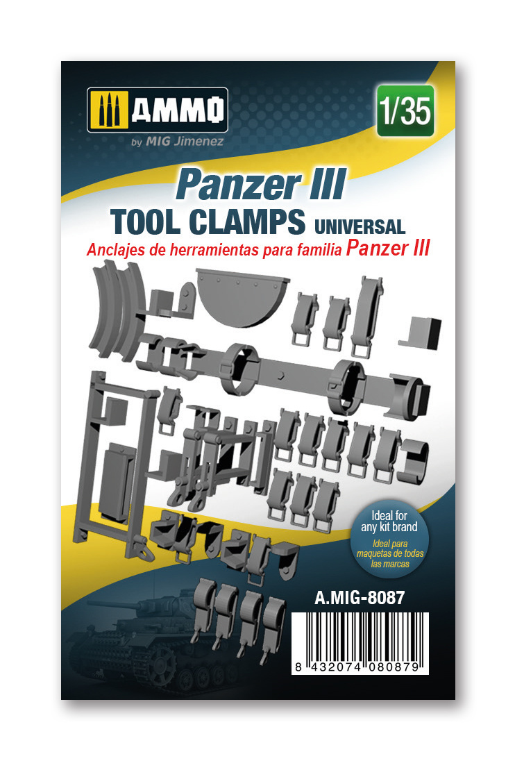 Ammo by Mig Jimenez Panzer III tool clamps universal - Ammo by Mig Jimenez - A.MIG-8087