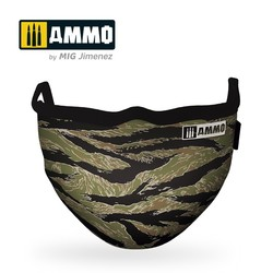 "Ammo Face Mask ""Tiger Camo"" (Hygienic Protective Mask 100% Polyester) - Ammo by Mig Jimenez - A.MIG-8069"
