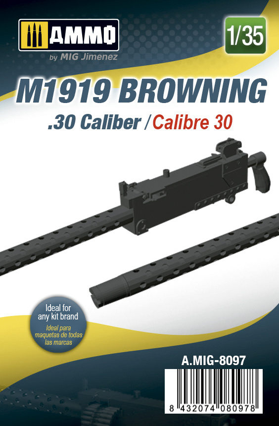 Ammo by Mig Jimenez M1919 Browning. 30 Cal - Scale 1/35 - Ammo by Mig Jimenez - A.MIG-8097