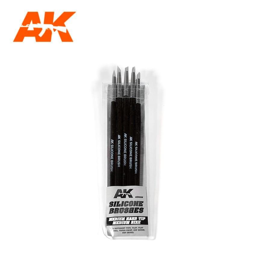 AK-Interactive Set Of 5 Silicone Brushes Medium Hard Tip Medium - AK-Interactive - AK-9086