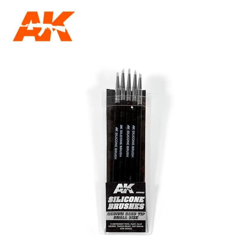 AK-Interactive Set Of 5 Silicone Brushes Medium Hard Tip Small - AK-Interactive - AK-9085