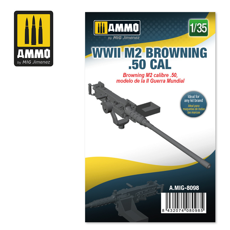 Ammo by Mig Jimenez WWII M2 Browning .50 cal - Scale 1/35 - Ammo by Mig Jimenez - A.MIG-8098
