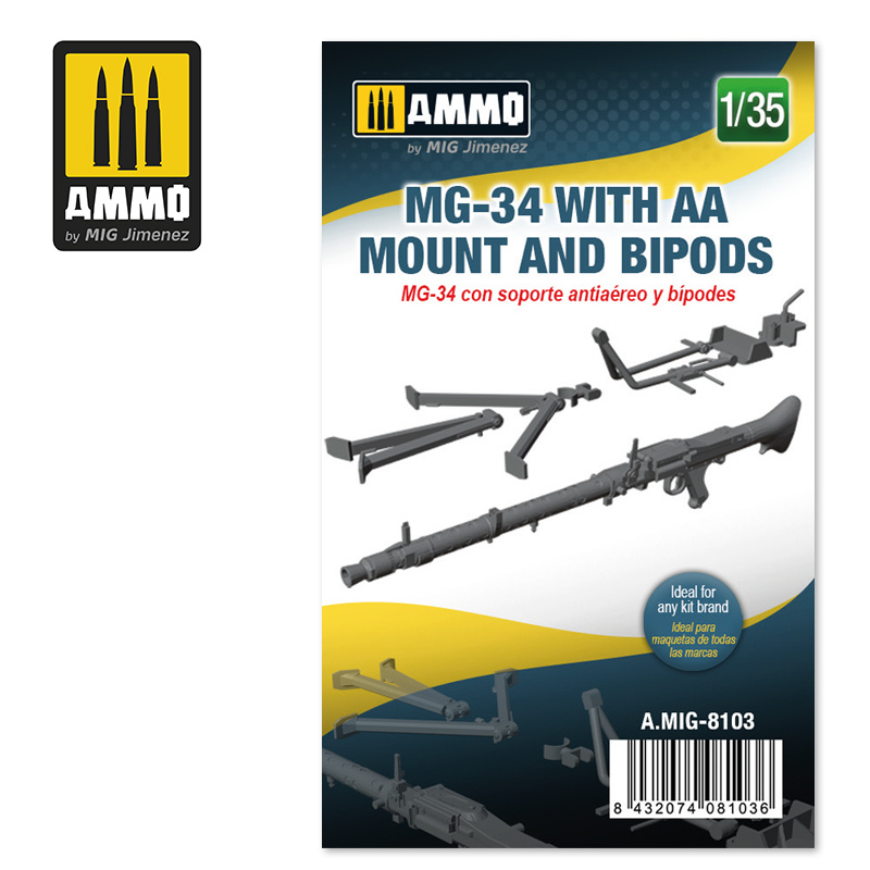 Ammo by Mig Jimenez MG-34 with AA Mount and Bipods - Scale 1/35 - Ammo by Mig Jimenez - A.MIG-8103
