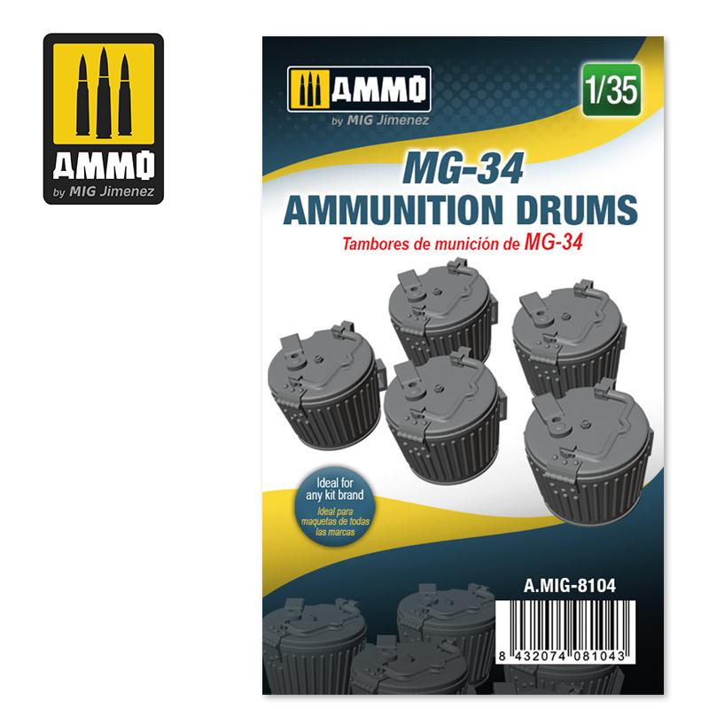 Ammo by Mig Jimenez MG-34 Ammunition Drums - Scale 1/35 - Ammo by Mig Jimenez - A.MIG-8104