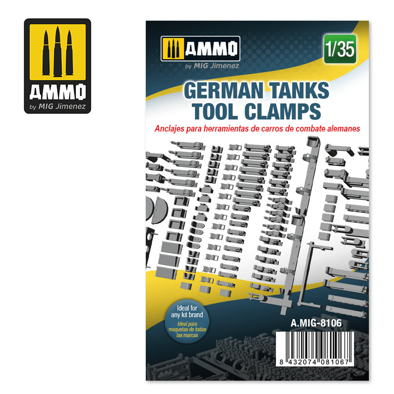 Ammo by Mig Jimenez German Tanks Tool Clamps - Scale 1/35 - Ammo by Mig Jimenez - A.MIG-8106