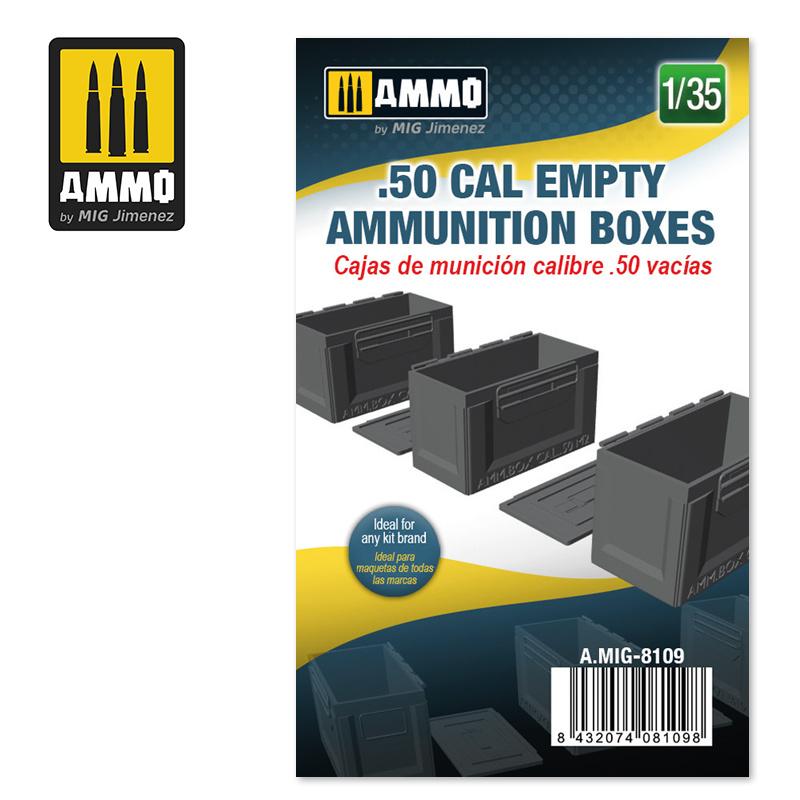 Ammo by Mig Jimenez .50 cal Empty Ammunition Boxes - Scale 1/35 - Ammo by Mig Jimenez - A.MIG-8109