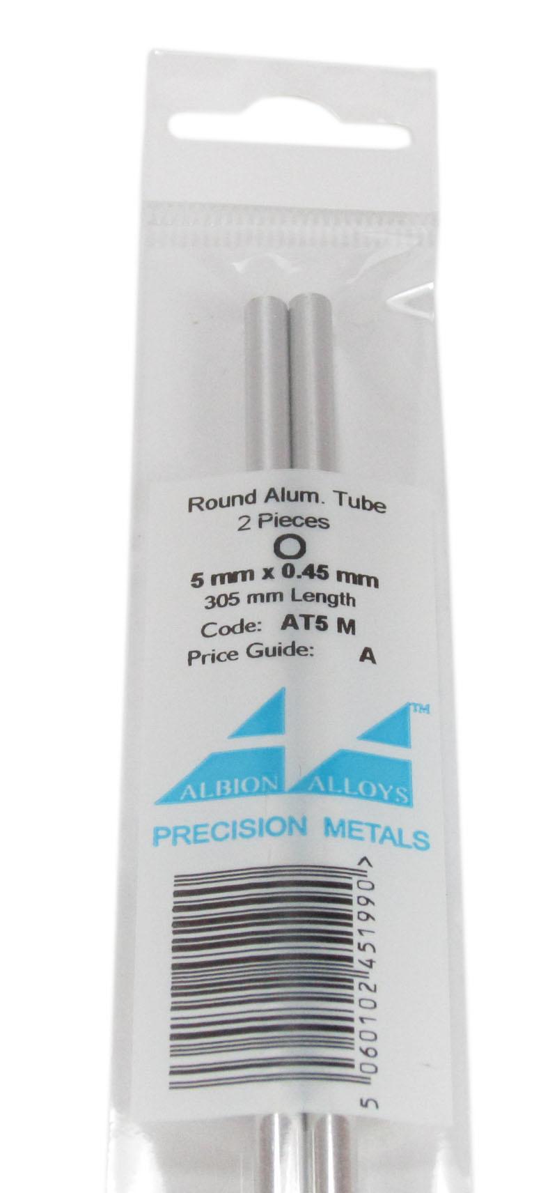 Albion Alloys Aluminium Pipe 5mm - 4pcs - Albion Alloys - AA-AT5M