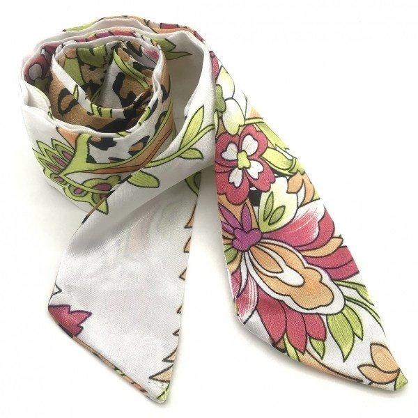 Haar sjaaltje design met luipaardprint    Wit