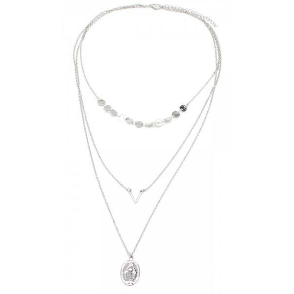 Ketting 3 laags Maria  — Zilver