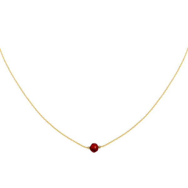 Yehwang Ketting minimalistisch met steen — Rood