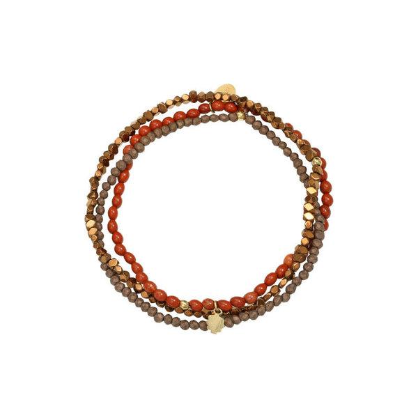 Yehwang Armbandenset Kralen met bedel — Bruin - Charm
