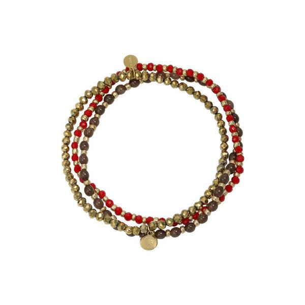 Yehwang Armbandenset Kralen met bedel — Rood - Zon