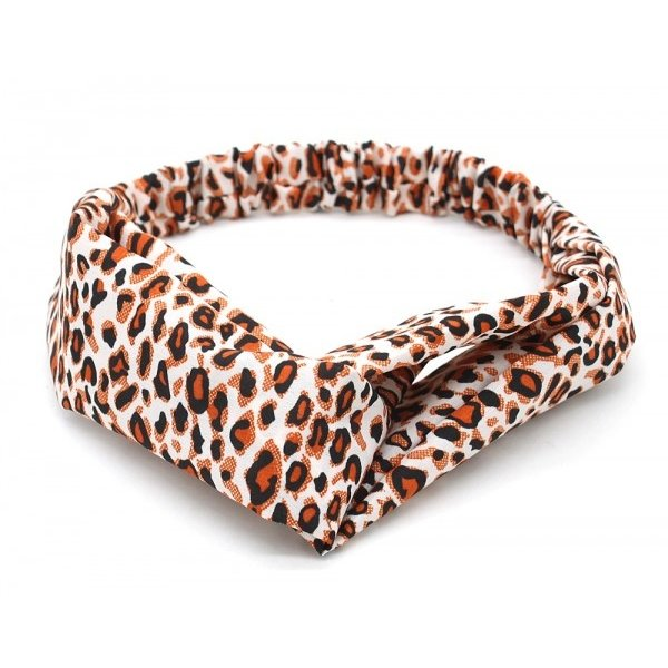Haarband dierenprint | Wit met Oranje