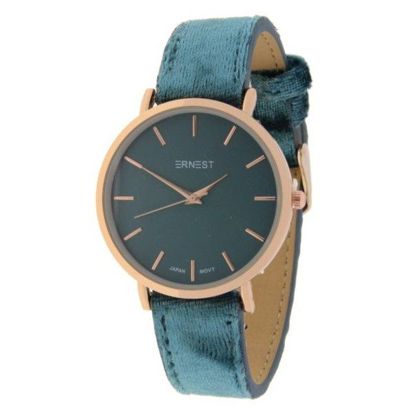 Ernest  Ernest Dames horloge Velvet -Jeansblauw