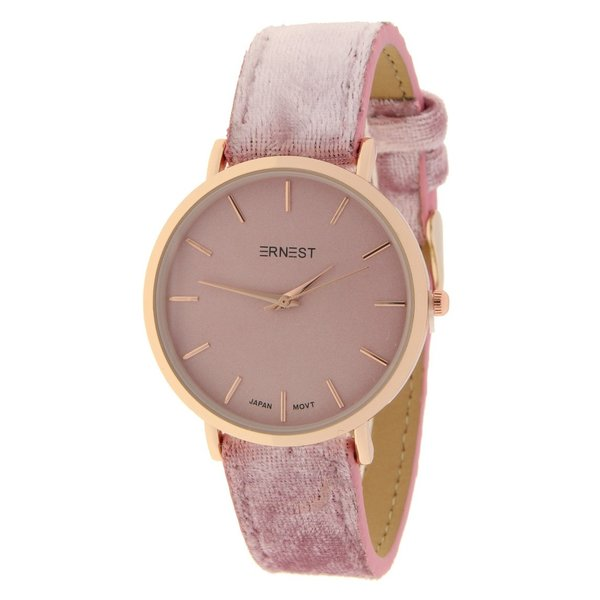 Ernest  Ernest Dames horloge Velvet -Lichtroze