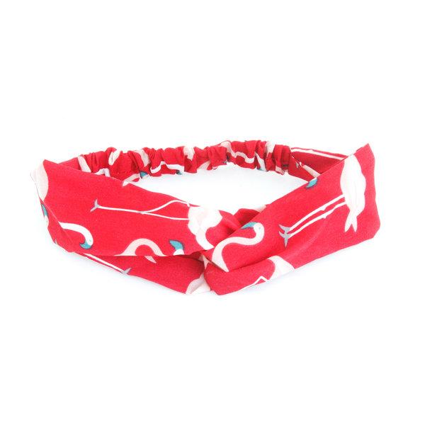 Haarband rood met flamingo's