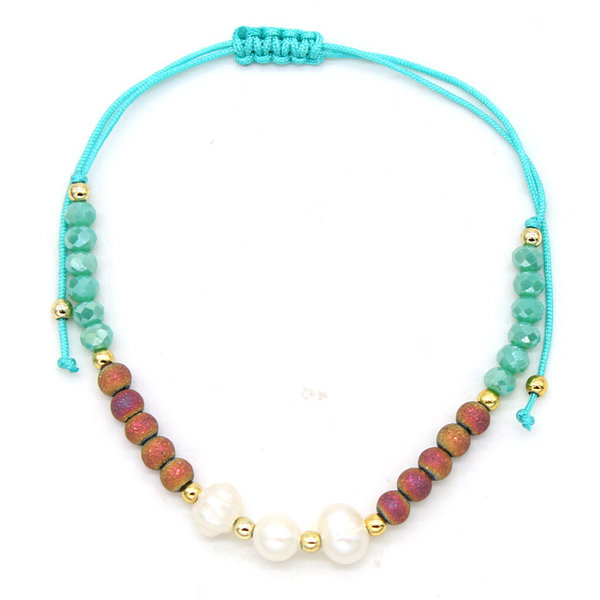 Enkelbandje sea pearls  — Blauw