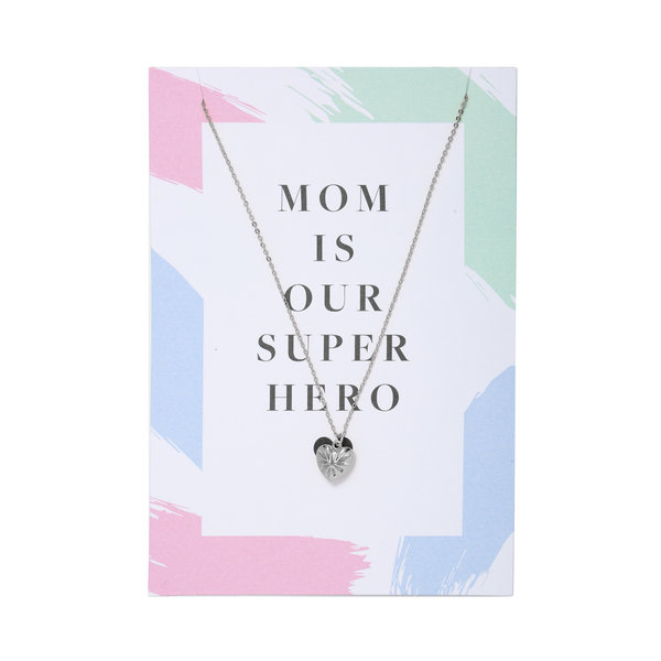 Yehwang Ketting met kaart | Mom is our superhero |  Zilver
