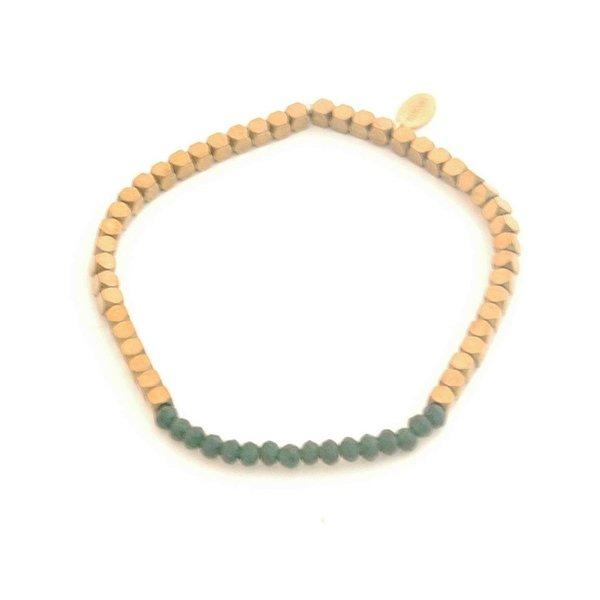 Yehwang Armband kralen | Groen / Goud