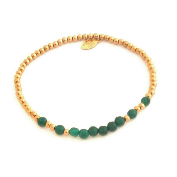 Yehwang Armband kralen Happy | Groen  -  Goud