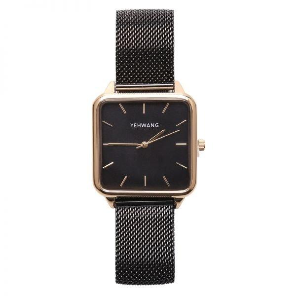 Yehwang Horloge square - Zwart en goud - Japan Movt