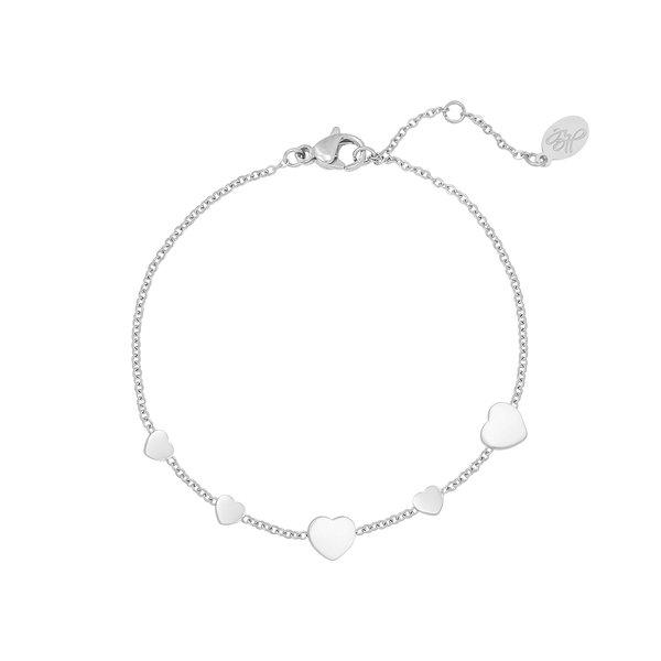 Yehwang Armband Row Coins Heart | Zilver