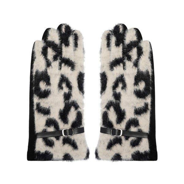 Handschoenen luipaardprint | Wit - Zwart