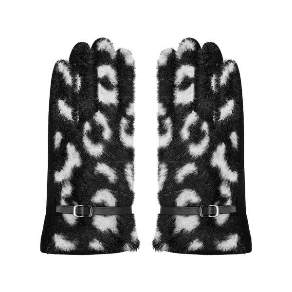 Handschoenen luipaardprint | Zwart - Wit