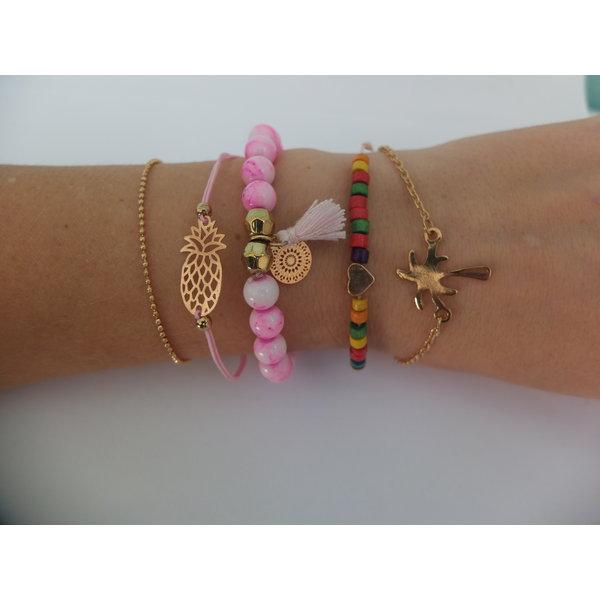 Armbandenset - Bohemian style - Roze
