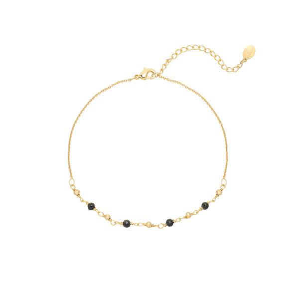 Enkelbandje Small Beads | Zwart