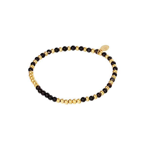 Armband Kralen Spheres   Zwart - Goud