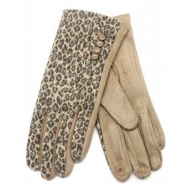 Handschoenen Luipaardenprint   Bruin