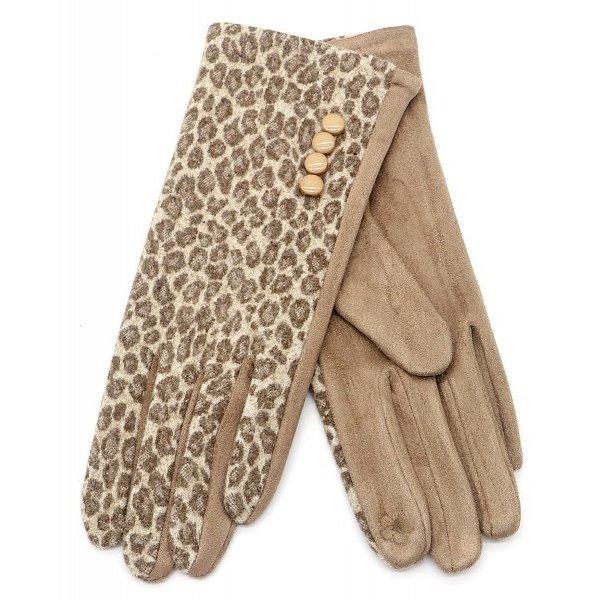 Handschoenen Luipaardenprint | Lichtbruin