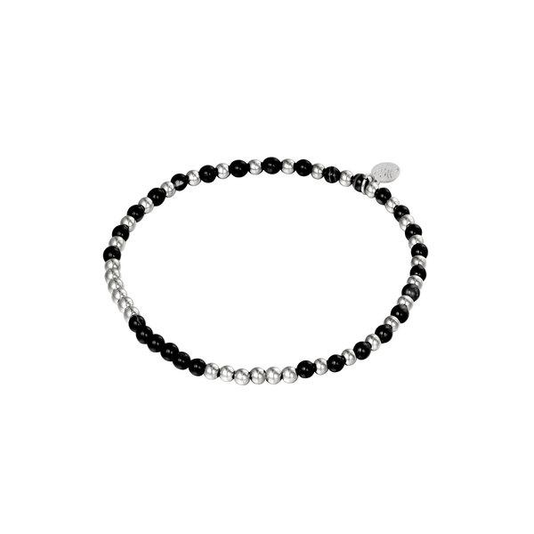 Armband Kralen Spheres | Zwart - Zilver