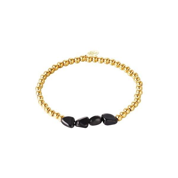 Armband Kralen Black Rocks   Goud