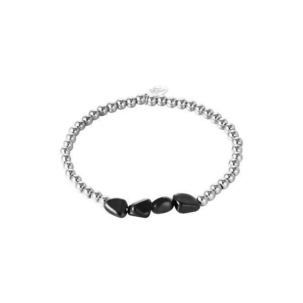 Armband  Kralen Black Rocks | Zilver