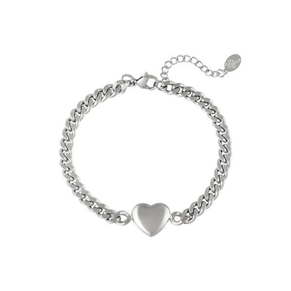 Yehwang Armband Geketend hart | Zilver