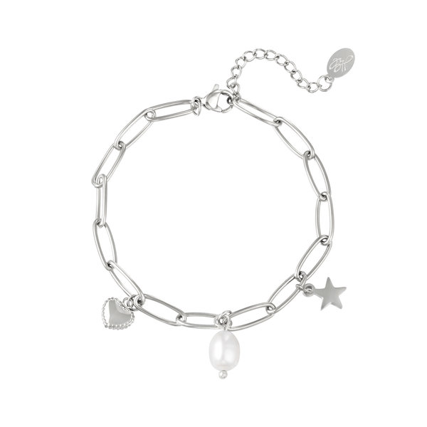 Armband met bedels en parel   Zilver