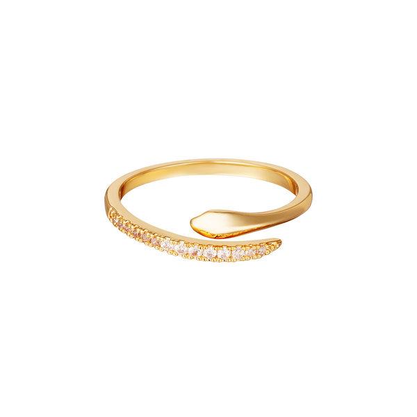Yehwang Ring slang met zirkonia steentjes