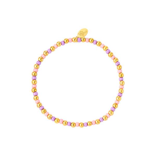 Yehwang Armband kralen | Roze-Paars-Goud