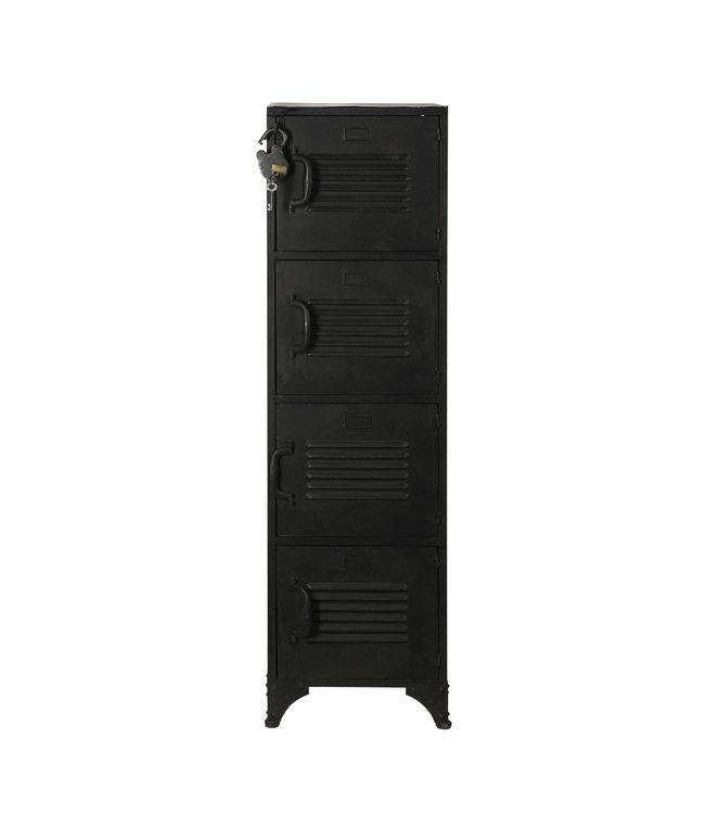 Rootsmann Schließfachschrank 4 Türen | Schwarz mit Schloss