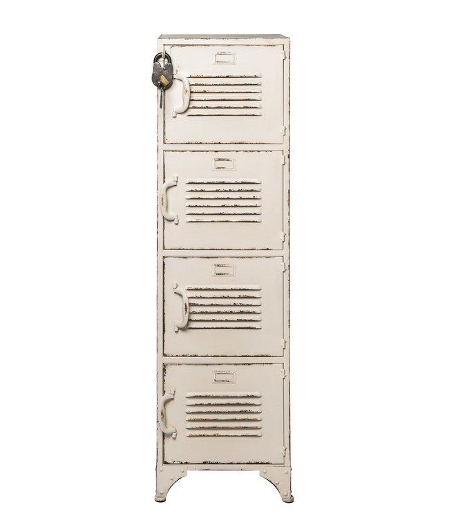 Rootsmann Schließfachschrank 4 Türen | Weiß mit Schloss