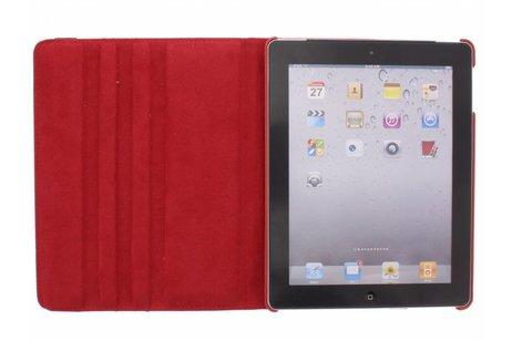 Étui de tablette portefeuille rotatif à 360° pour l'iPad 2 / 3 / 4 - Rouge