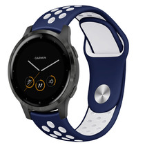iMoshion Bracelet silicone sport Garmin Vivoactive 4L - Bleu / Blanc