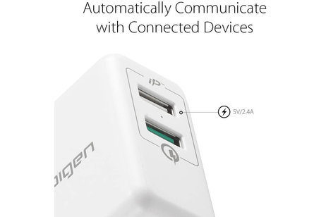 Spigen Essential USB Wall Charger Quick Charge 3.0 - Blanc