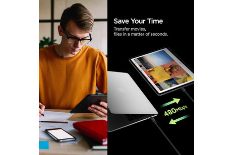 Spigen Essential Braided USB-C vers câble USB-C - 1,5 mètres - Noir
