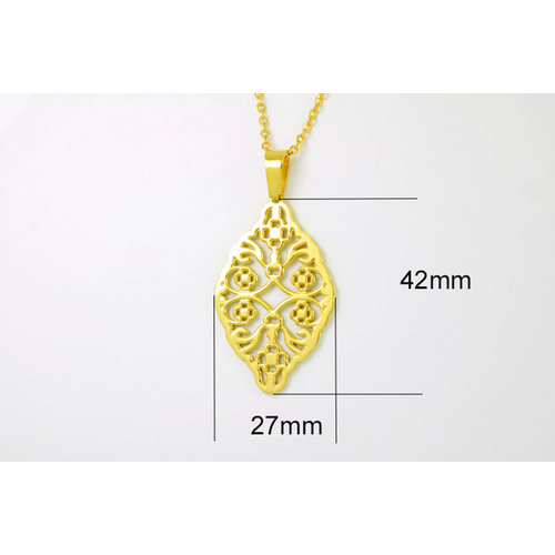 Pendentif avec chaine 42+4cm placage or jaune CLARA
