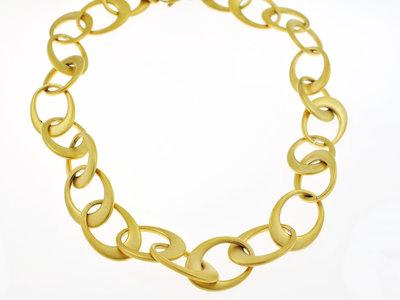 Edelstaal halsketting matte afwerking en geel goud verguld JOYCE